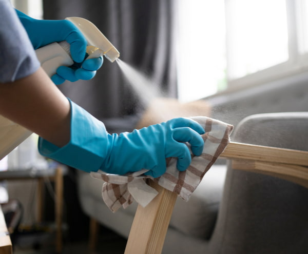 Housekeeping cleaning the house for protection from viruses